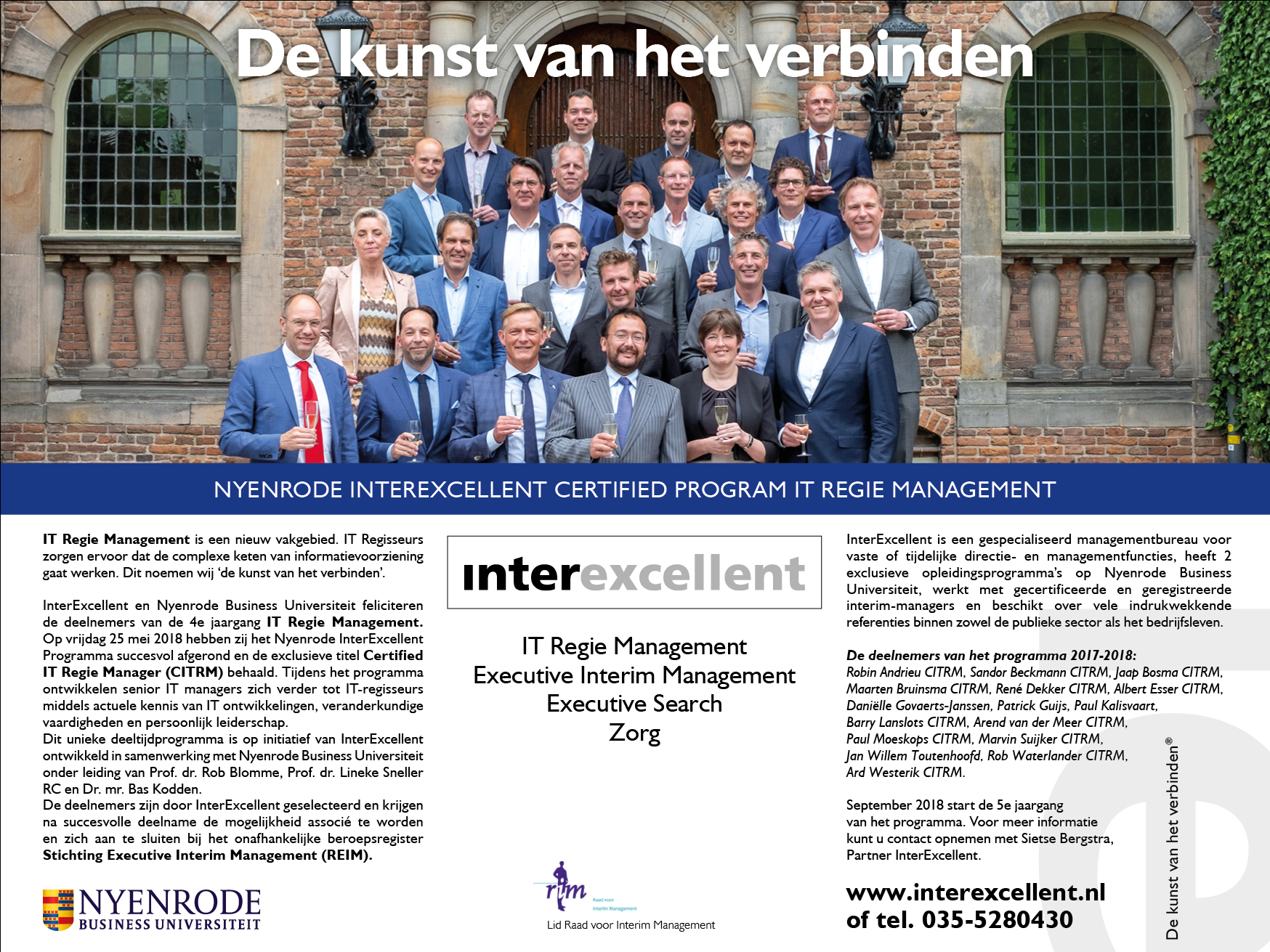 Nyenrode InterExcellent leergang IT Regie Management leergang 2017-2018